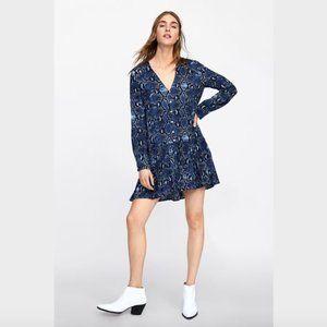 Zara Blue Snake Print V Neck Button Front Dress S